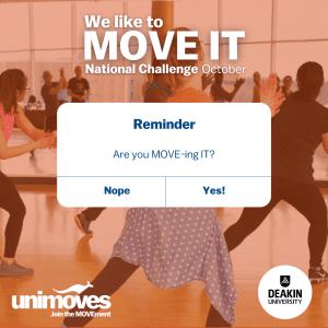 DeakinMOVES MOVE IT October National Challenge reminder