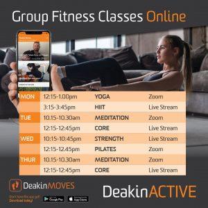 DeakinACTIVE Online Group Fitness Classes Schedule